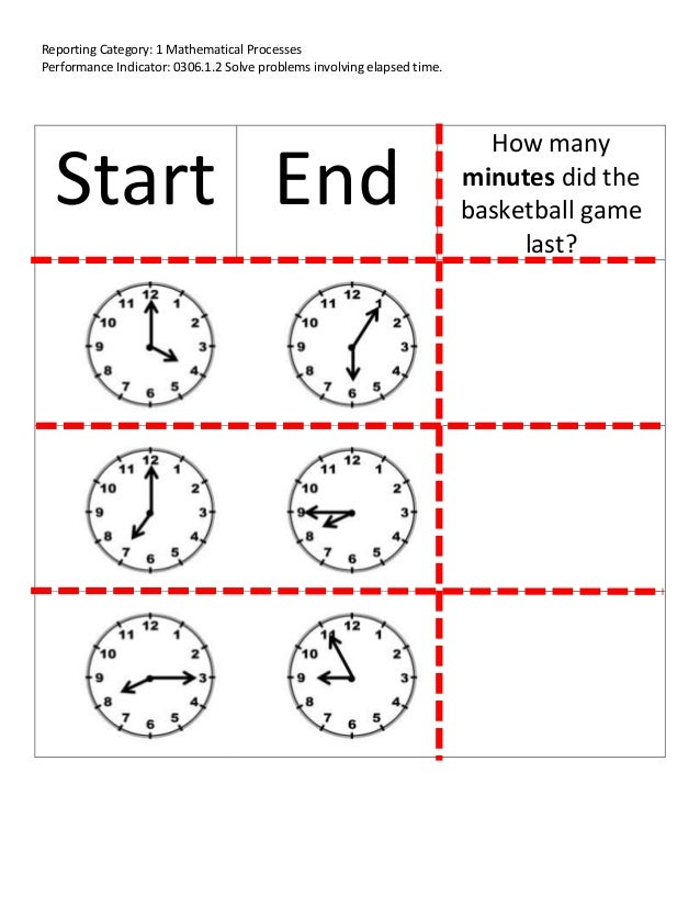 Reporting Category: 1 Mathematical ProcessesPerformance Indicator: 0306.1.2 Solve problems involving elapsed time.Start En...