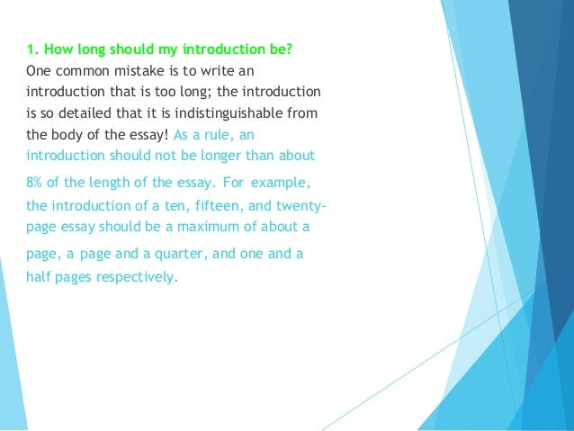 how long should an introduction in an essay be