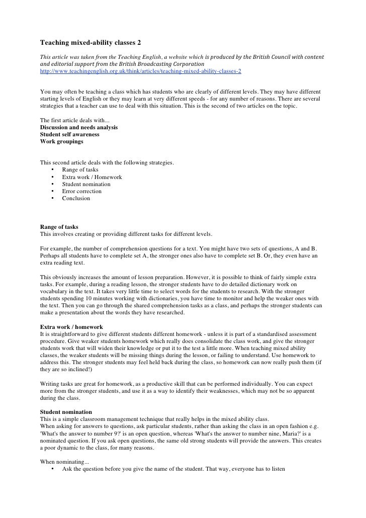 Teaching mixed-ability classes 2 This article was taken from the Teaching English, a website which isproducedbytheBrit...