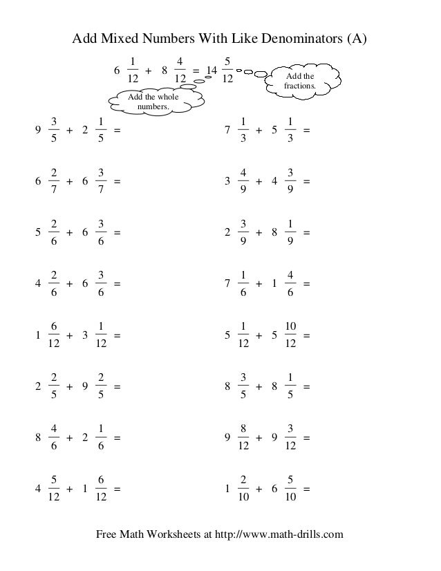 math worksheet : adding mixed numbers : Adding Mixed Numbers With Like Denominators Worksheets