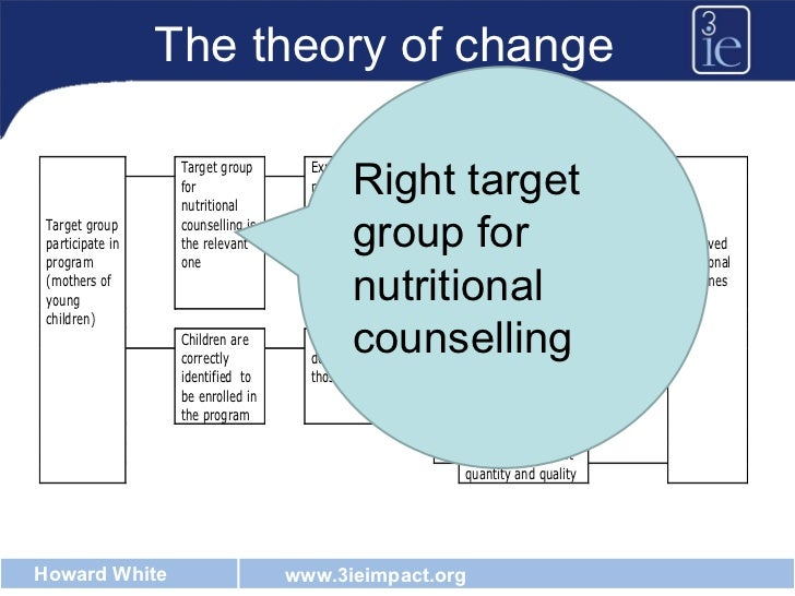 The theory of change Right target group for nutritional counselling
