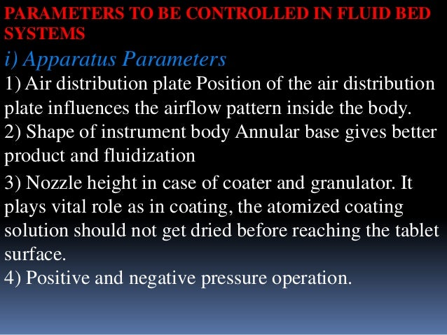 PARAMETERS TO BE CONTROLLED IN FLUID BED SYSTEMS  i) Apparatus Parameters 1) Air distribution plate Position of the air di...