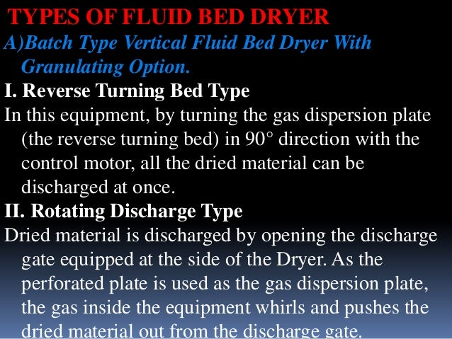 TYPES OF FLUID BED DRYER A)Batch Type Vertical Fluid Bed Dryer With Granulating Option. I. Reverse Turning Bed Type In thi...