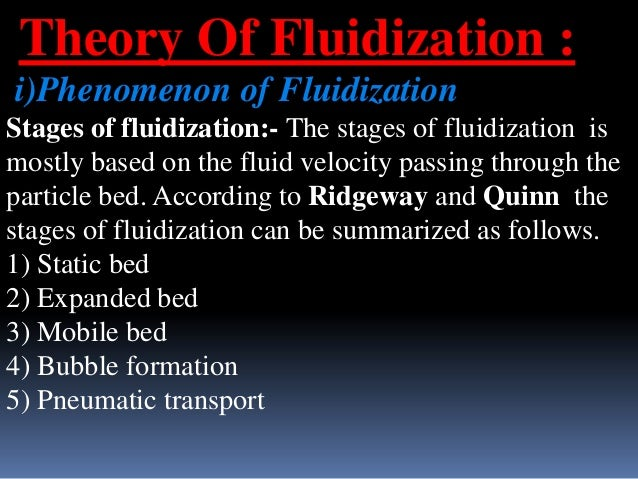 Theory Of Fluidization : i)Phenomenon of Fluidization Stages of fluidization:- The stages of fluidization is mostly based ...