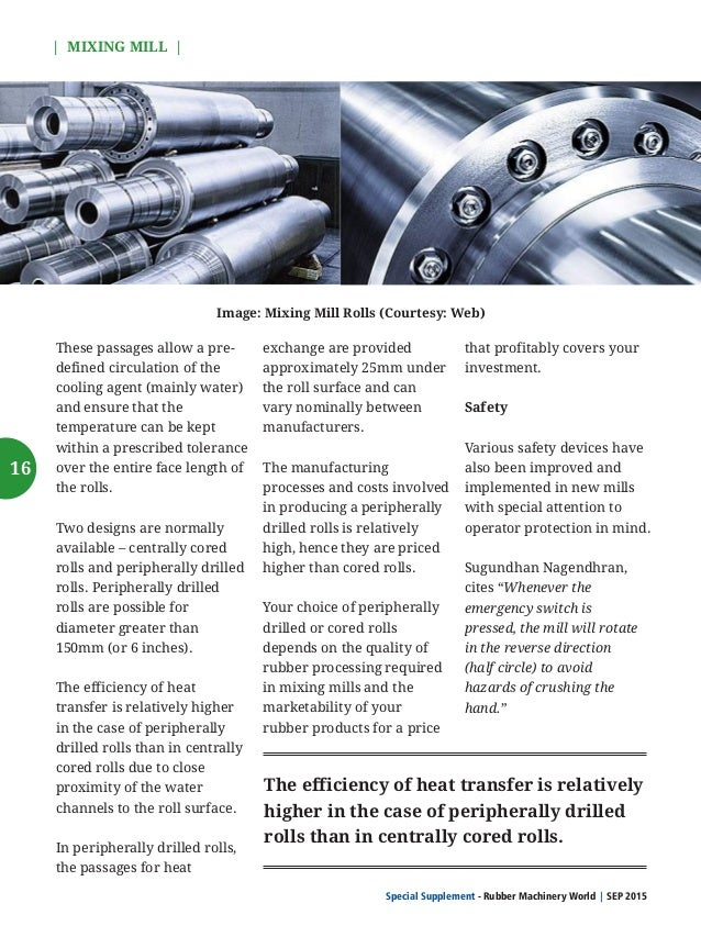 Special Supplement - Rubber Machinery World SEP 2015    MIXING MILL   Explains, Ashutosh Chincholikar, Business Head of Sm...