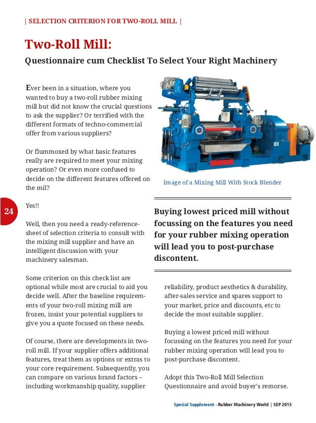 27 Special Supplement - Rubber Machinery World SEP 2015  Criterion Please Answer Descriptively if needed Mill Speed: (RPM/...