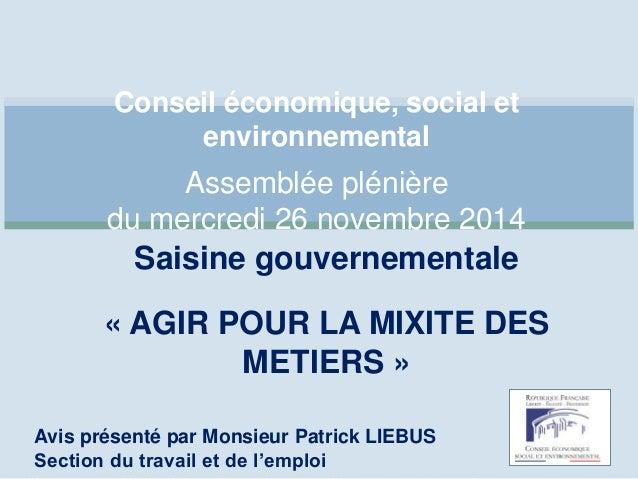 Conseil économique, social et  environnemental  Assemblée plénière  du mercredi 26 novembre 2014  Saisine gouvernementale ...