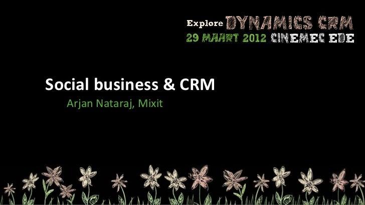 Social business & CRM  Arjan Nataraj, Mixit