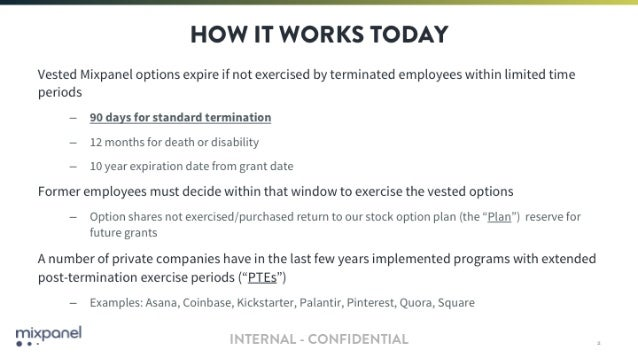 Mixpanel - Open-sourcing the deck we used to extend our employee option exercise window Slide 2