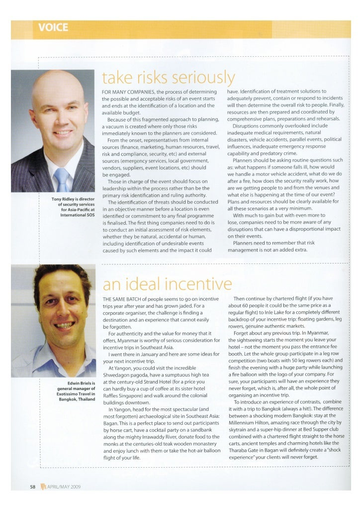 Event Planning-Security and Risk Management Issues.Asia's Creative Meetings Magazine