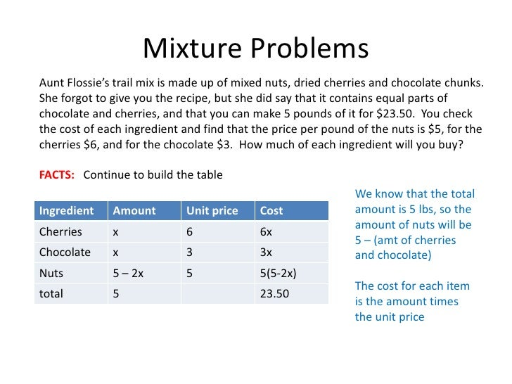math problems involving mixing How to solve a problem involving 8 less than twice as many problem: rotate to landscape screen format on a mobile phone or small tablet to use the mathway widget, a free math problem solver that answers your questions with step-by-step explanations.