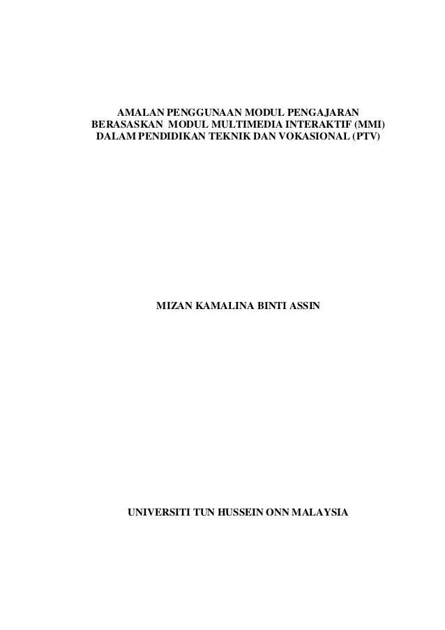 AMALAN PENGGUNAAN MODUL PENGAJARAN BERASASKAN MODUL MULTIMEDIA INTERAKTIF (MMI) DALAM PENDIDIKAN TEKNIK DAN VOKASIONAL (PT...