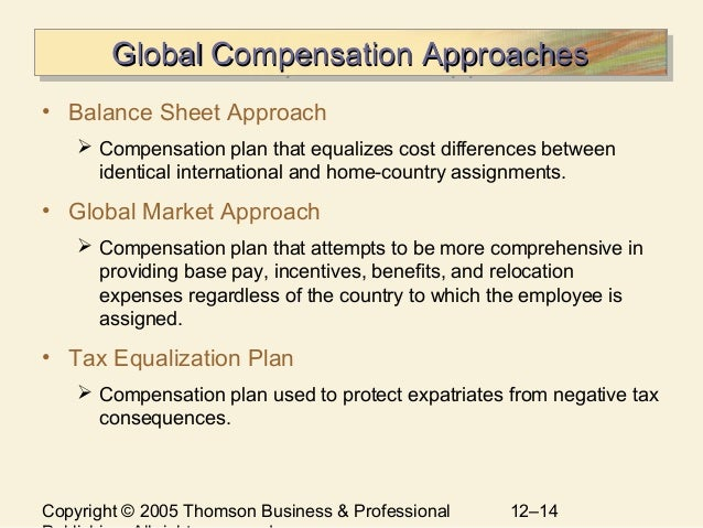 compensation strategies and practices Compensation plan that attempts to be more comprehensive in providing base pay, incentives, benefits, and relocation expenses regardless of the country to which the employee is.