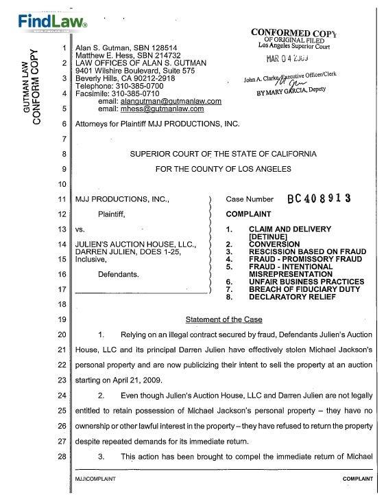 FindLaw | Michael Jackson's Lawsuit Against Darren Julien