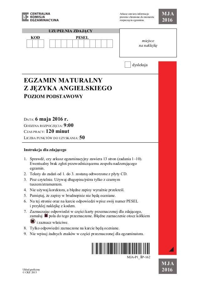 Egzamin Maturalny Z Jezyka Angielskiego Na Poziomie Podstawowym 2016