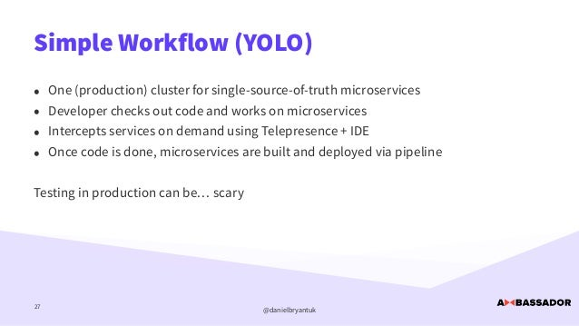@danielbryantuk Simple Workflow (YOLO) 27 • One (production) cluster for single-source-of-truth microservices   • Develope...