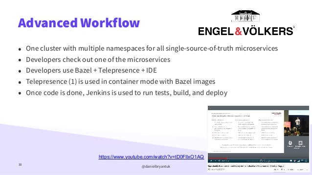 @danielbryantuk Advanced Workflow 30 • One cluster with multiple namespaces for all single-source-of-truth microservices  ...