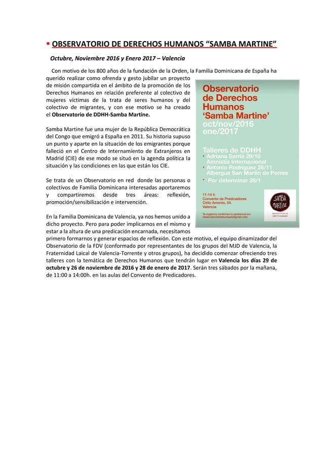 """▪ OBSERVATORIO DE DERECHOS HUMANOS """"SAMBA MARTINE"""" Octubre, Noviembre 2016 y Enero 2017 – Valencia Con motivo de los 800 a..."""