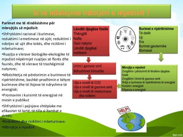 Si te ndalojme ndotjen e mjedisit ? Parimet me të rëndësishme për mbrojtjës së mjedisit: •Shfrytëzimi racional i burimeve,...