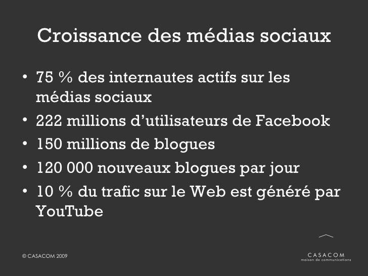 Croissance des médias sociaux <ul><li>75 % des internautes actifs sur les médias sociaux </li></ul><ul><li>222 millions d'...