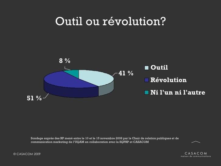 Outil ou révolution? Sondage auprès des RP mené entre le 10 et le 15 novembre 2008 par la Chair de relation publiques et d...