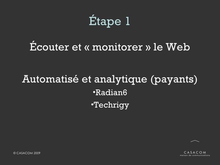Étape 1 <ul><li>Écouter et «monitorer» le Web </li></ul><ul><li>Automatisé et analytique (payants) </li></ul><ul><li>Rad...