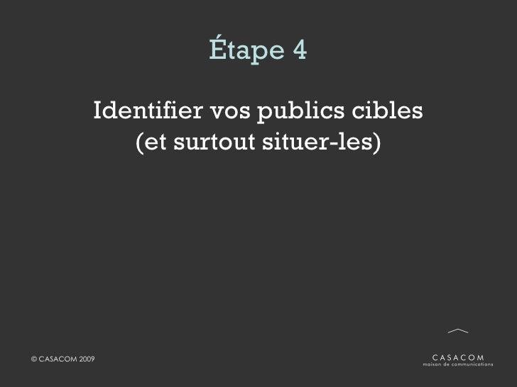 Étape 4 <ul><li>Identifier vos publics cibles (et surtout situer-les) </li></ul>