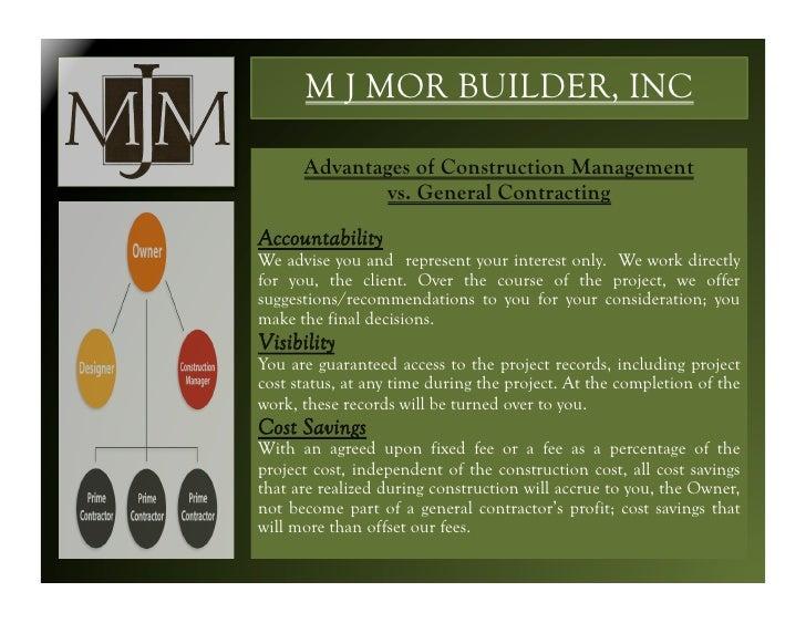 M j mor builder inc for Punch list procedure