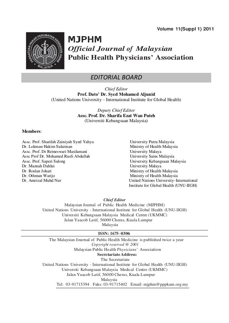 Volume 11(Suppl 1) 2011                         Official Journal of Malaysian                         Public Health Physic...