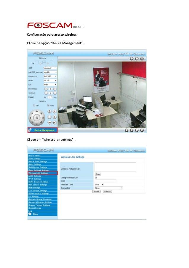 """Configuração para acesso wireless. Clique na opção """"Device Management"""".  Clique em """"wireless lan settings""""."""