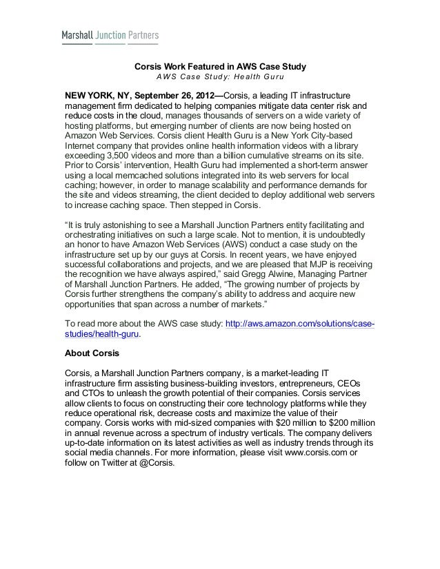 Corsis Work Featured in AWS Case Study                         A W S C a s e S tu d y : H e a lth G u ruNEW YORK, NY, Sept...