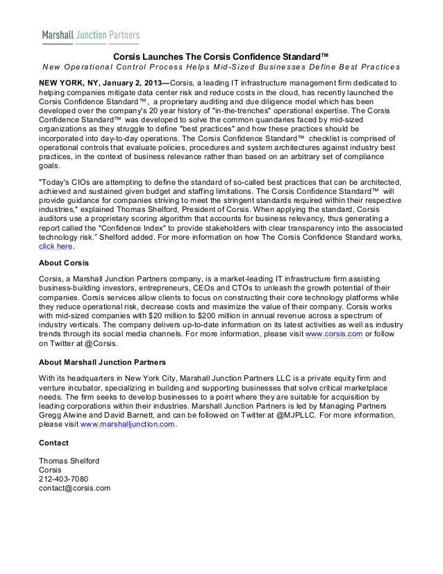 Corsis Launches The Corsis Confidence Standard™ N e w O p e ra tio n a l C o n tro l P ro c e s s H e lp s M id -S iz e d ...