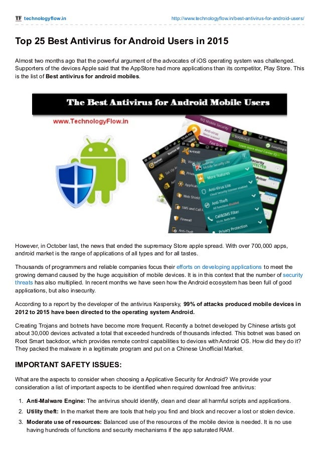 Top 25 best antivirus for android users in 2015