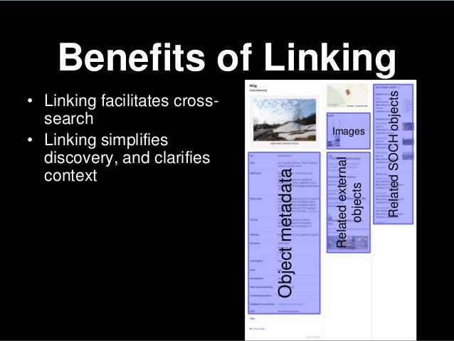 Benefits of Linking• Linking facilitates cross-search• Linking simplifiesdiscovery, and clarifiescontextObjectmetadataRela...