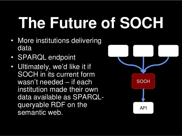 The Future of SOCH• More institutions deliveringdata• SPARQL endpoint• Ultimately, we'd like it ifSOCH in its current form...