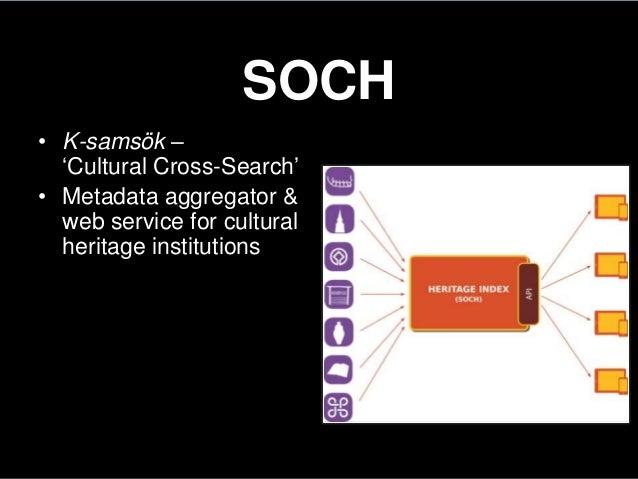 SOCH• K-samsök –'Cultural Cross-Search'• Metadata aggregator &web service for culturalheritage institutions