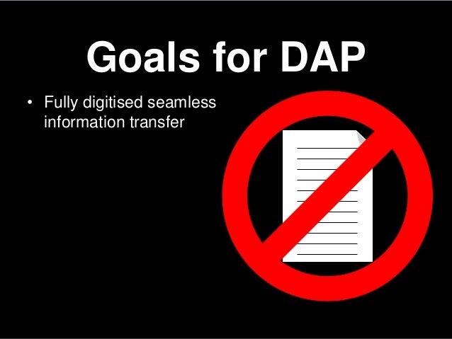 Goals for DAP• Fully digitised seamlessinformation transfer