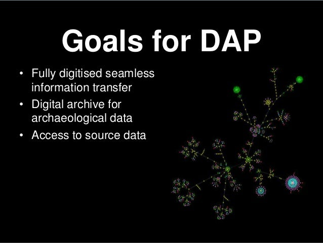 Goals for DAP• Fully digitised seamlessinformation transfer• Digital archive forarchaeological data• Access to source data