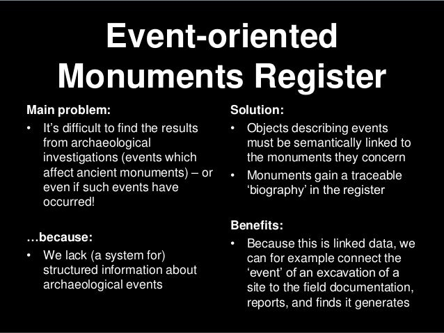 Event-orientedMonuments RegisterMain problem:• It's difficult to find the resultsfrom archaeologicalinvestigations (events...