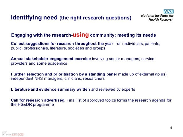 Building a portfolio of research findings for use by healthcare manag – Research Agenda Sample