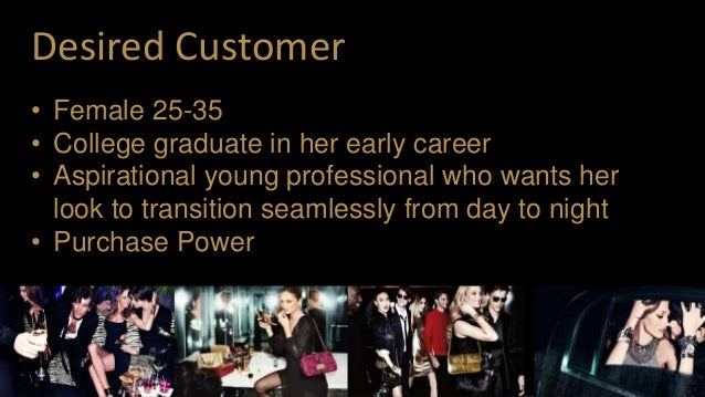 Desired Customer • Female 25-35 • College graduate in her early career • Aspirational young professional who wants her loo...