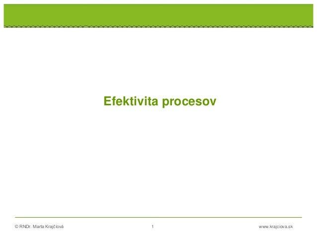 © RNDr. Marta Krajčíová 1 www.krajciova.sk Efektivita procesov