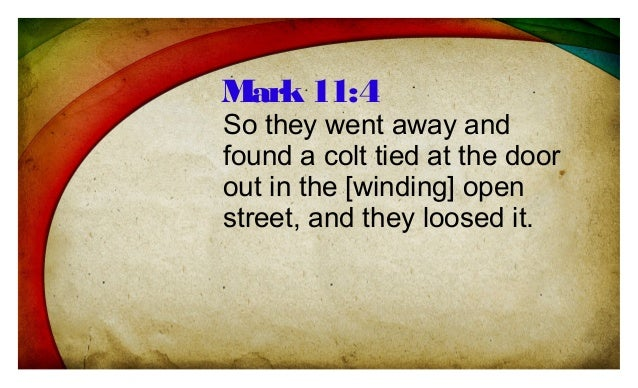 So they went away and found a colt tied at the door out in the [winding] open street, and they loosed it. Mark11:4