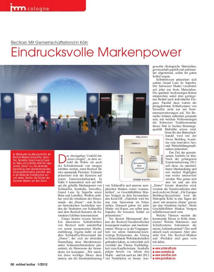 Recticel: Mit Gemeinschaftsstand in KölnEindrucksvolle Markenpower                                                        ...