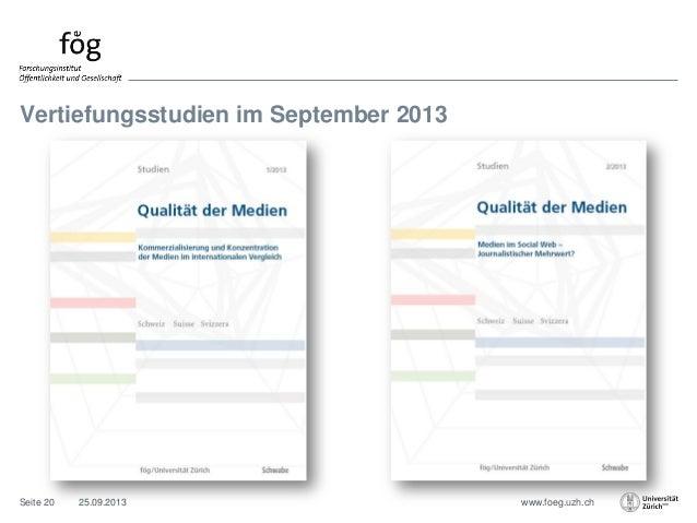 www.foeg.uzh.ch Vertiefungsstudien im September 2013 25.09.2013Seite 20