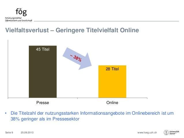 www.foeg.uzh.ch Vielfaltsverlust – Geringere Titelvielfalt Online 25.09.2013Seite 9 • Die Titelzahl der nutzungsstarken In...