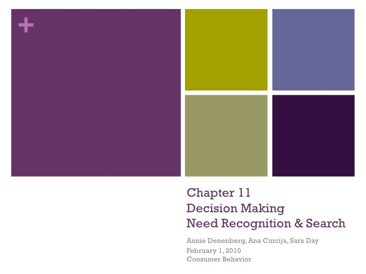 Chapter 11 Decision Making Need Recognition & Search Annie Denenberg, Ana Curcija, Sara Day February 1, 2010 Consumer Beha...