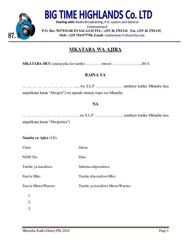 Mkataba, Radio Ebony FM, 2014 Page 1 MKATABA WA AJIRA MKATABA HUU unafanyika leo tarehe ………… mwezi …………………., 2014. BAINA Y...