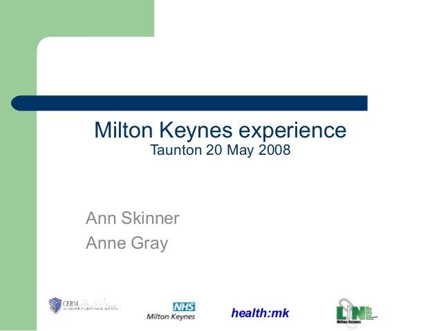 health:mk Milton Keynes experience Taunton 20 May 2008 Ann Skinner Anne Gray