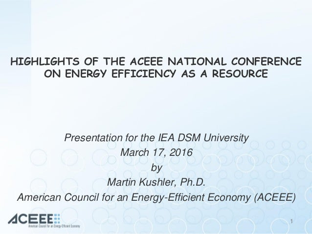 Highlights of the ACEEE National Conference on Energy